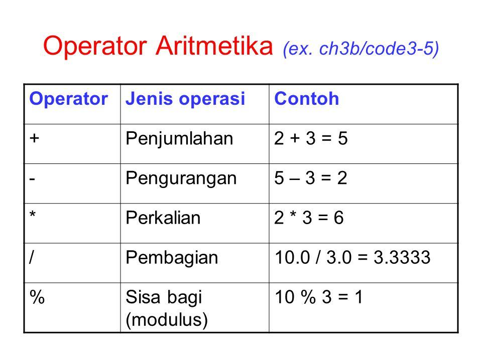 Operator Aritmetika (ex. ch3b/code3-5)