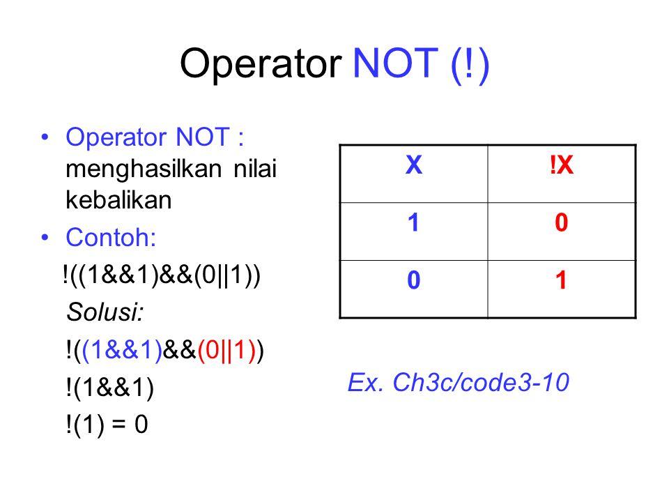 Operator NOT (!) Operator NOT : menghasilkan nilai kebalikan Contoh: