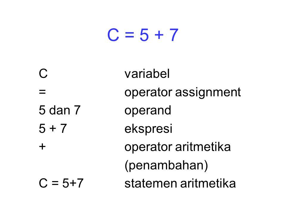 C = 5 + 7 C variabel = operator assignment 5 dan 7 operand