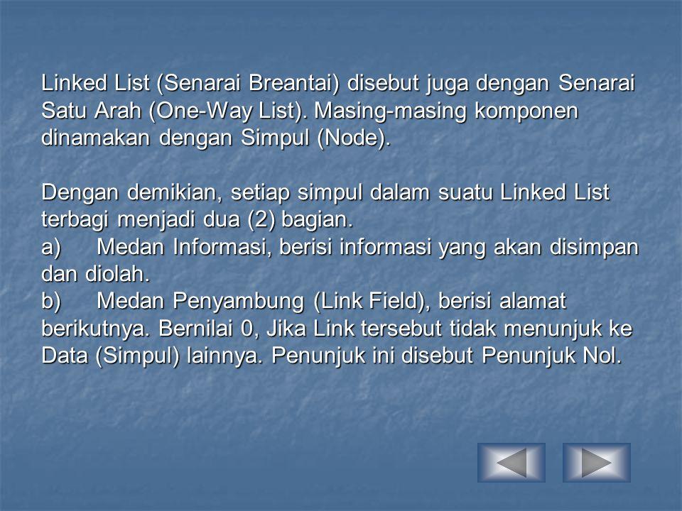 Linked List (Senarai Breantai) disebut juga dengan Senarai Satu Arah (One-Way List).
