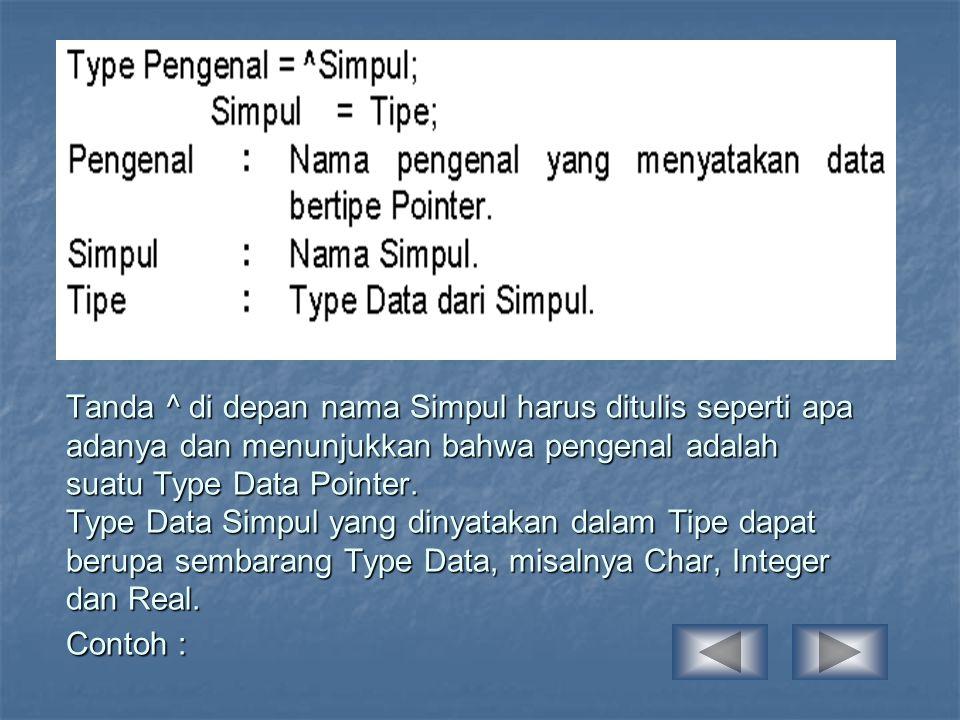 Tanda ^ di depan nama Simpul harus ditulis seperti apa adanya dan menunjukkan bahwa pengenal adalah suatu Type Data Pointer.