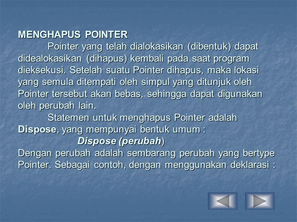 MENGHAPUS POINTER Pointer yang telah dialokasikan (dibentuk) dapat didealokasikan (dihapus) kembali pada saat program dieksekusi.