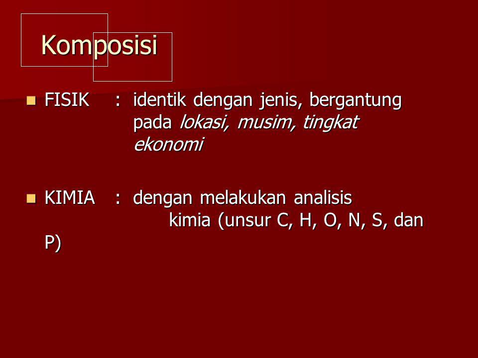 Komposisi FISIK : identik dengan jenis, bergantung pada lokasi, musim, tingkat ekonomi.