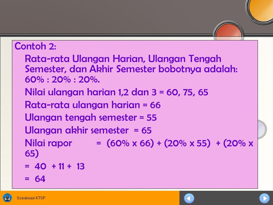 Contoh 2: Rata-rata Ulangan Harian, Ulangan Tengah Semester, dan Akhir Semester bobotnya adalah: 60% : 20% : 20%.