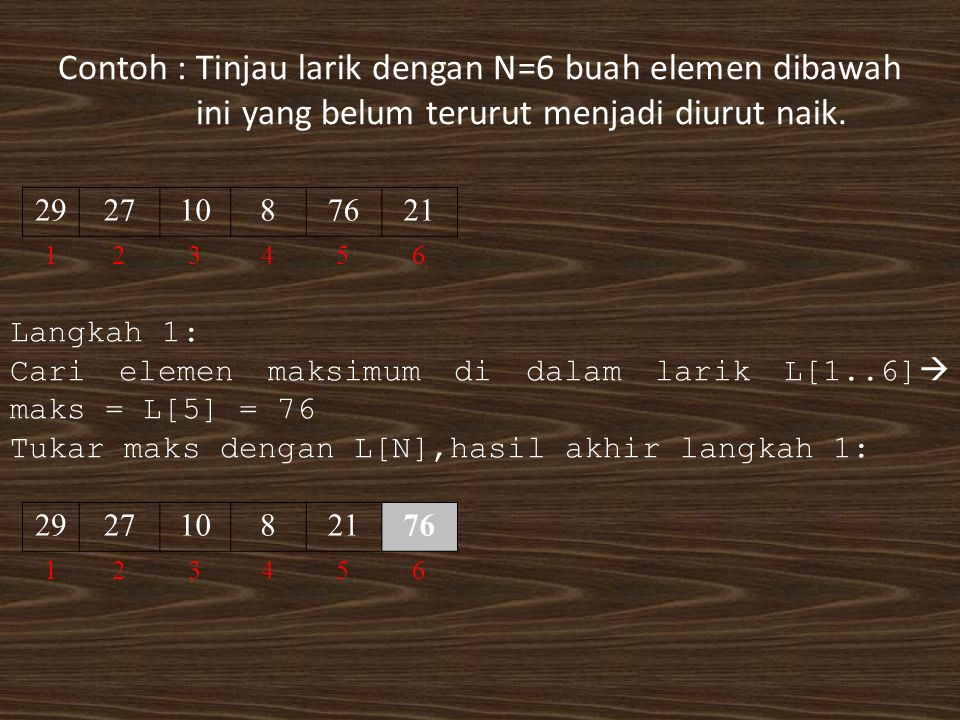 Contoh : Tinjau larik dengan N=6 buah elemen dibawah