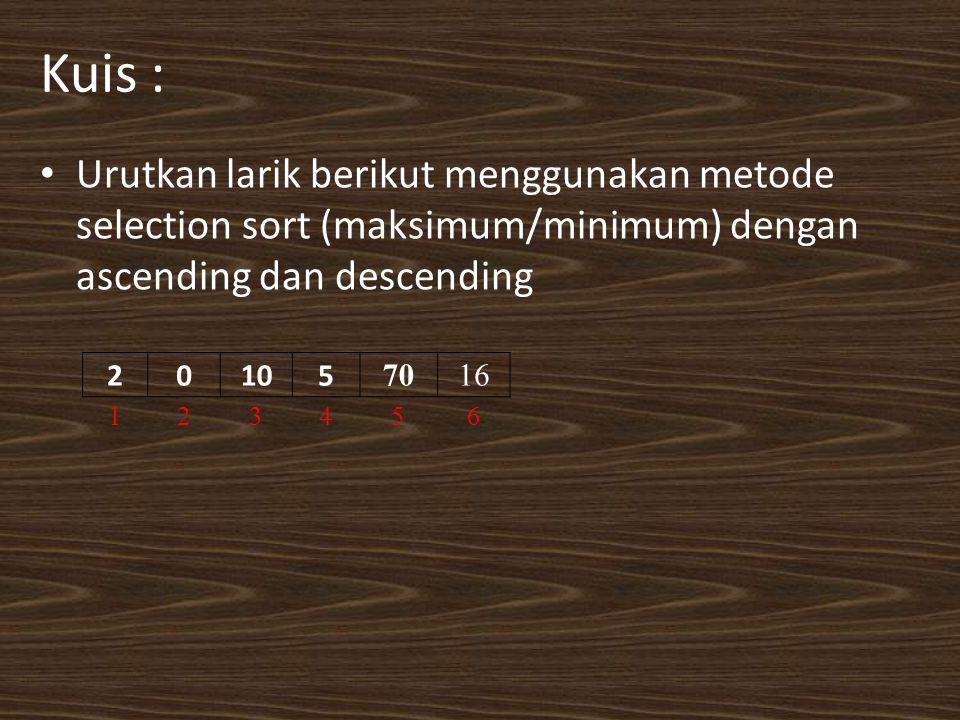 Kuis : Urutkan larik berikut menggunakan metode selection sort (maksimum/minimum) dengan ascending dan descending.