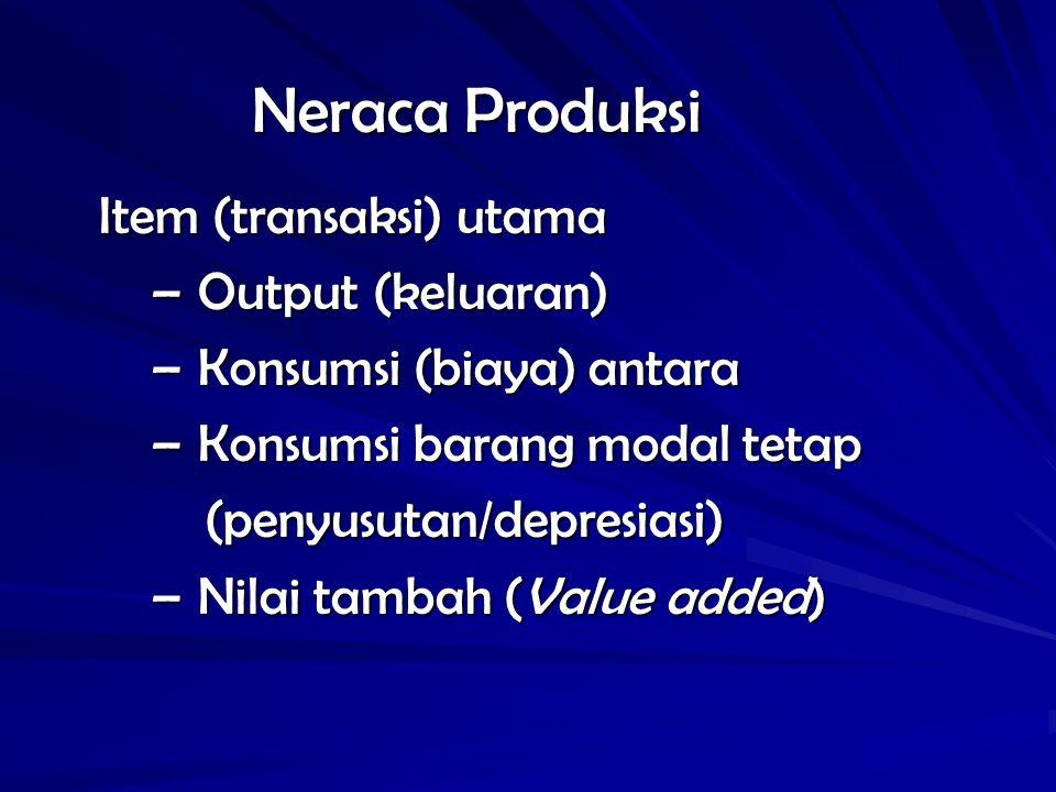 Neraca Produksi Item (transaksi) utama Output (keluaran)