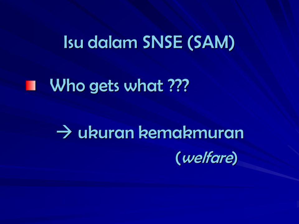 Isu dalam SNSE (SAM) Who gets what  ukuran kemakmuran (welfare)