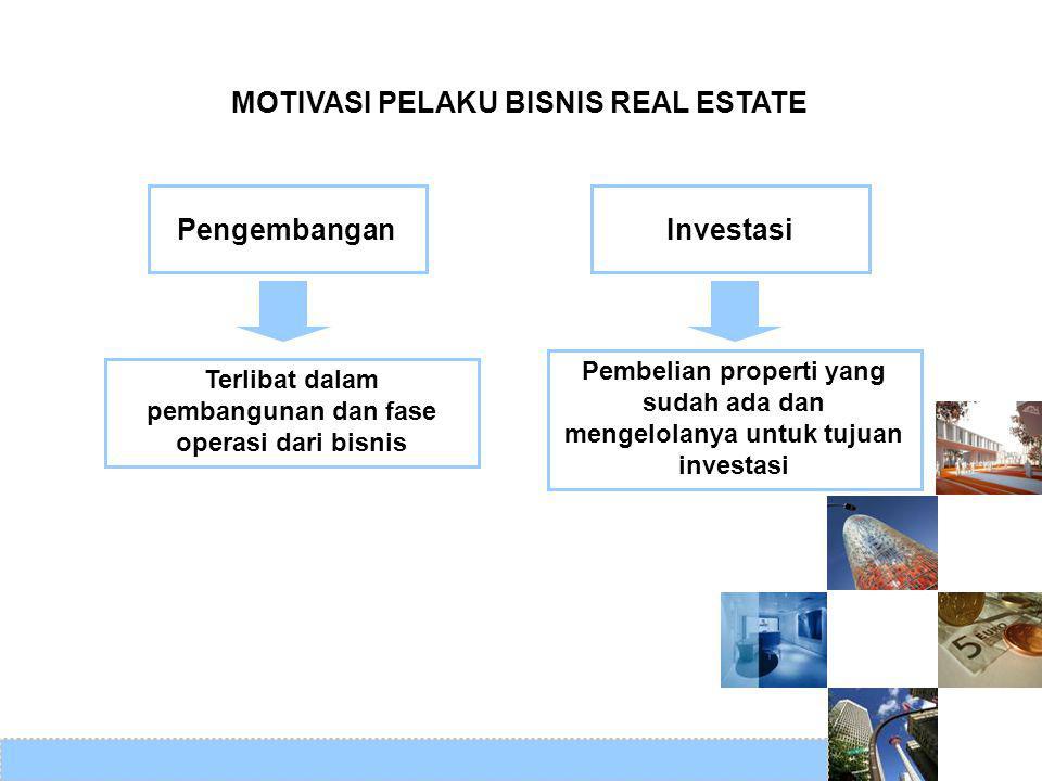 MOTIVASI PELAKU BISNIS REAL ESTATE Pengembangan Investasi