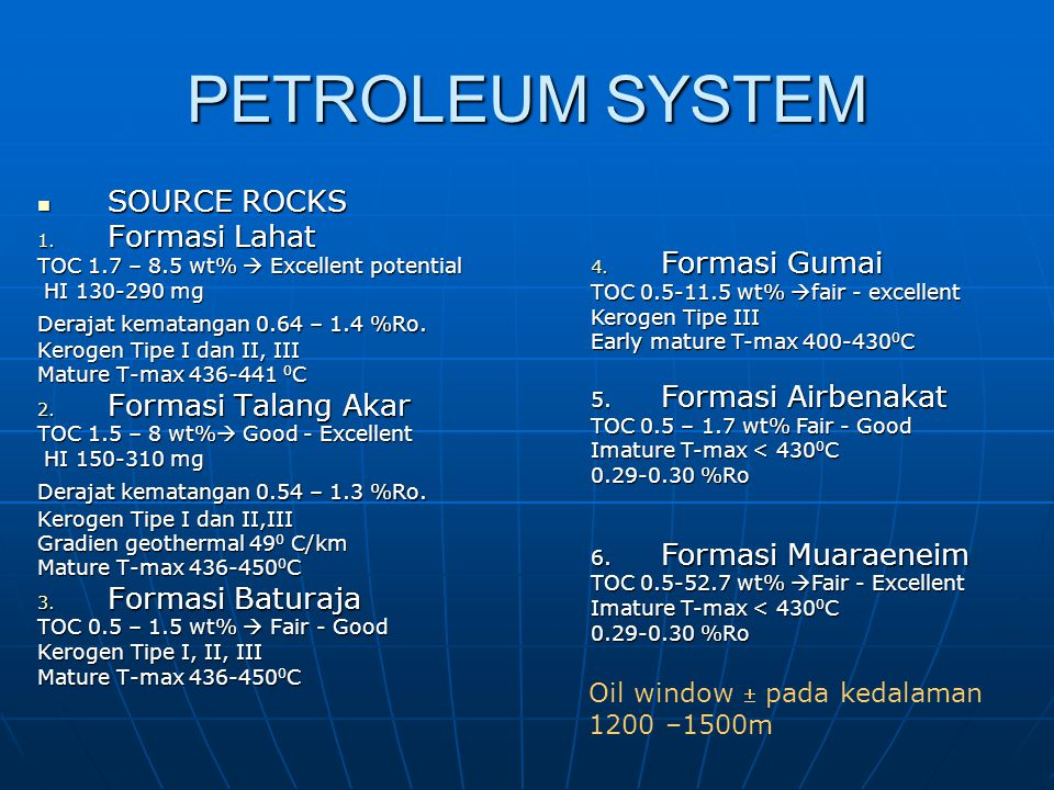 PETROLEUM SYSTEM SOURCE ROCKS Formasi Lahat Formasi Gumai