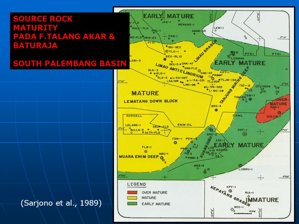 SOURCE ROCK MATURITY PADA F.TALANG AKAR & BATURAJA SOUTH PALEMBANG BASIN (Sarjono et al., 1989)