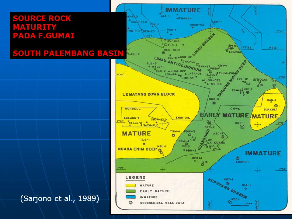 SOURCE ROCK MATURITY PADA F.GUMAI SOUTH PALEMBANG BASIN (Sarjono et al., 1989)