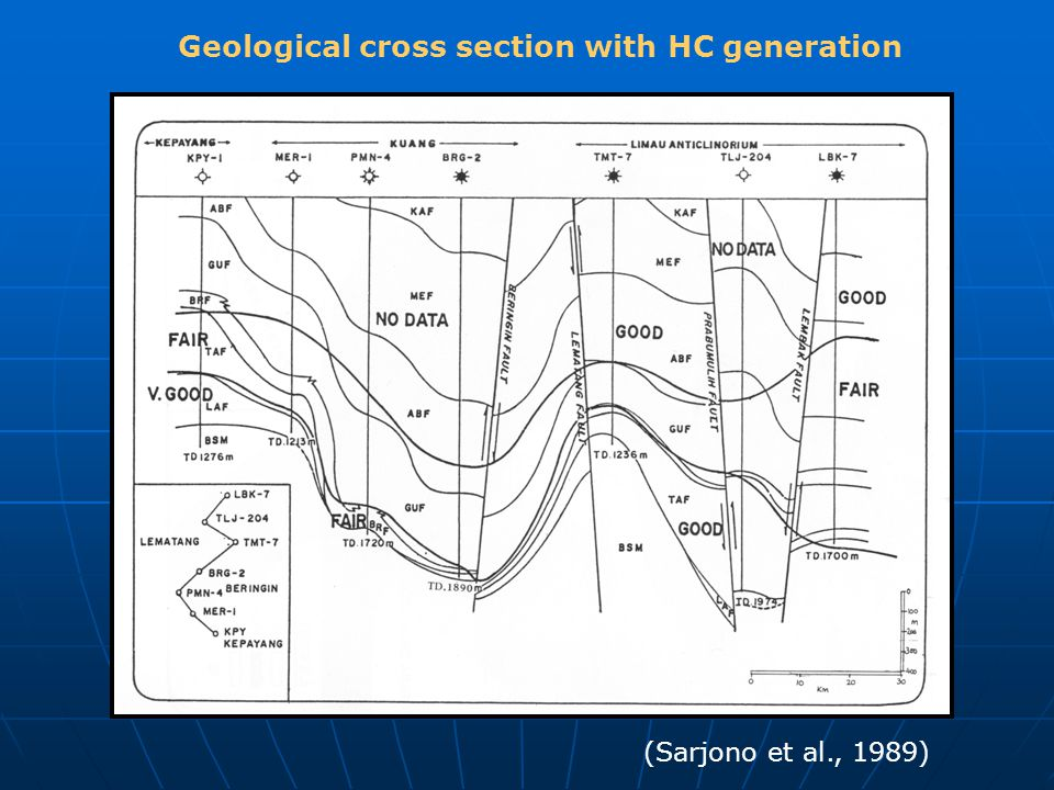 Geological cross section with HC generation