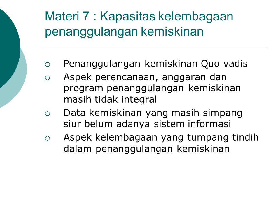 Materi 7 : Kapasitas kelembagaan penanggulangan kemiskinan