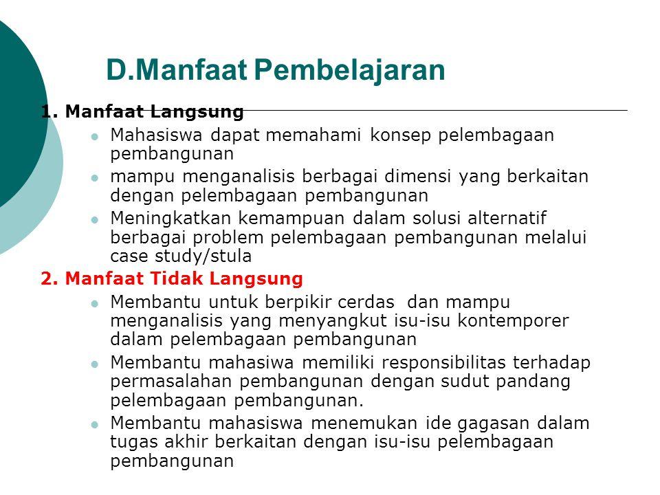 D.Manfaat Pembelajaran