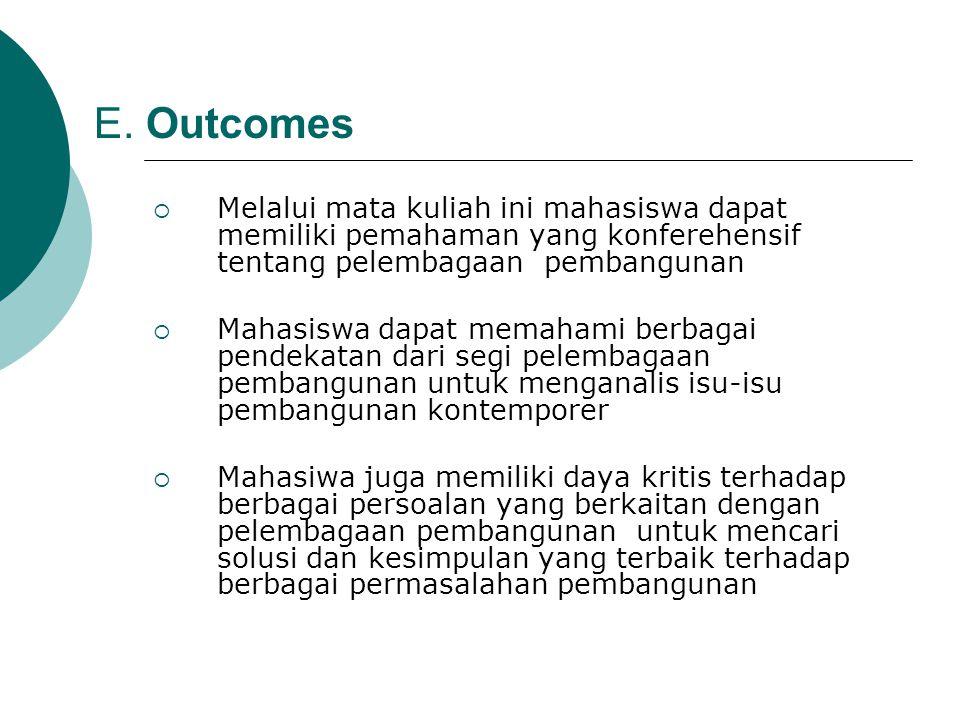 E. Outcomes Melalui mata kuliah ini mahasiswa dapat memiliki pemahaman yang konferehensif tentang pelembagaan pembangunan.