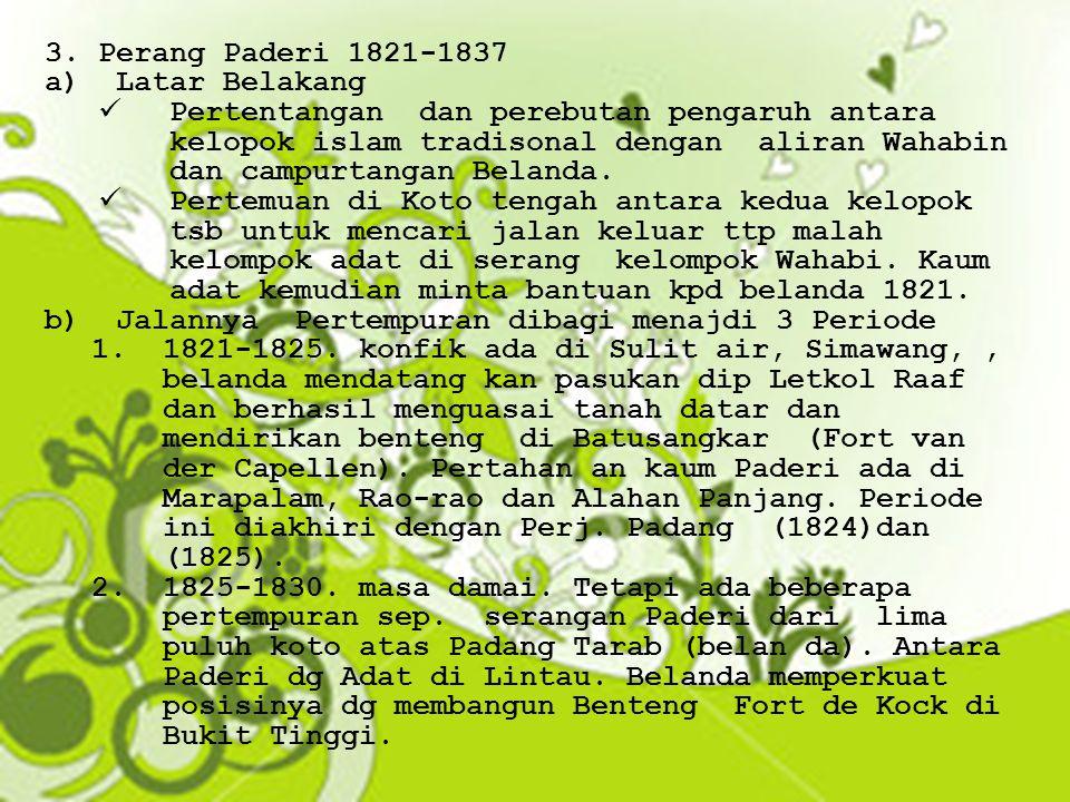 Perang Paderi 1821-1837 Latar Belakang.
