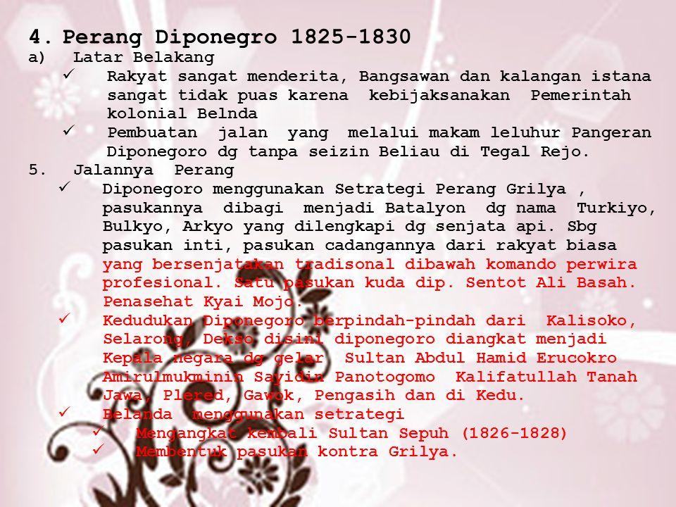 Perang Diponegro 1825-1830 Latar Belakang