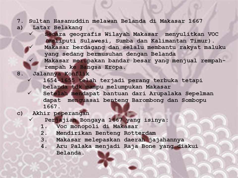 Sultan Hasanuddin melawan Belanda di Makasar 1667
