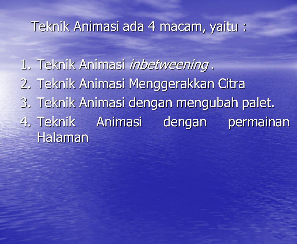 Teknik Animasi ada 4 macam, yaitu :