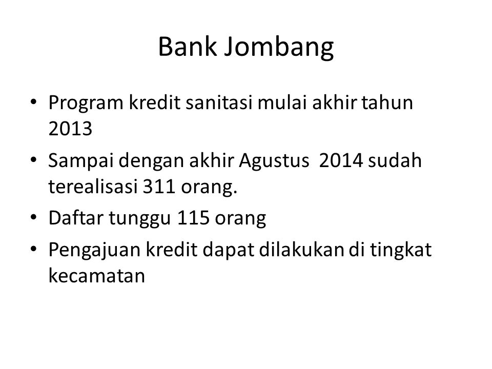 Bank Jombang Program kredit sanitasi mulai akhir tahun 2013