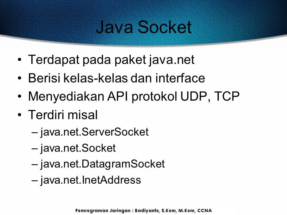 Java Socket Terdapat pada paket java.net