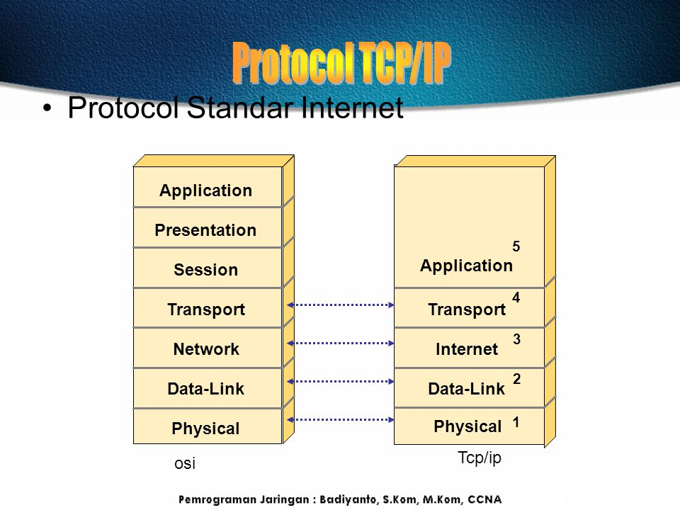 Protocol TCP/IP Protocol Standar Internet Application Presentation