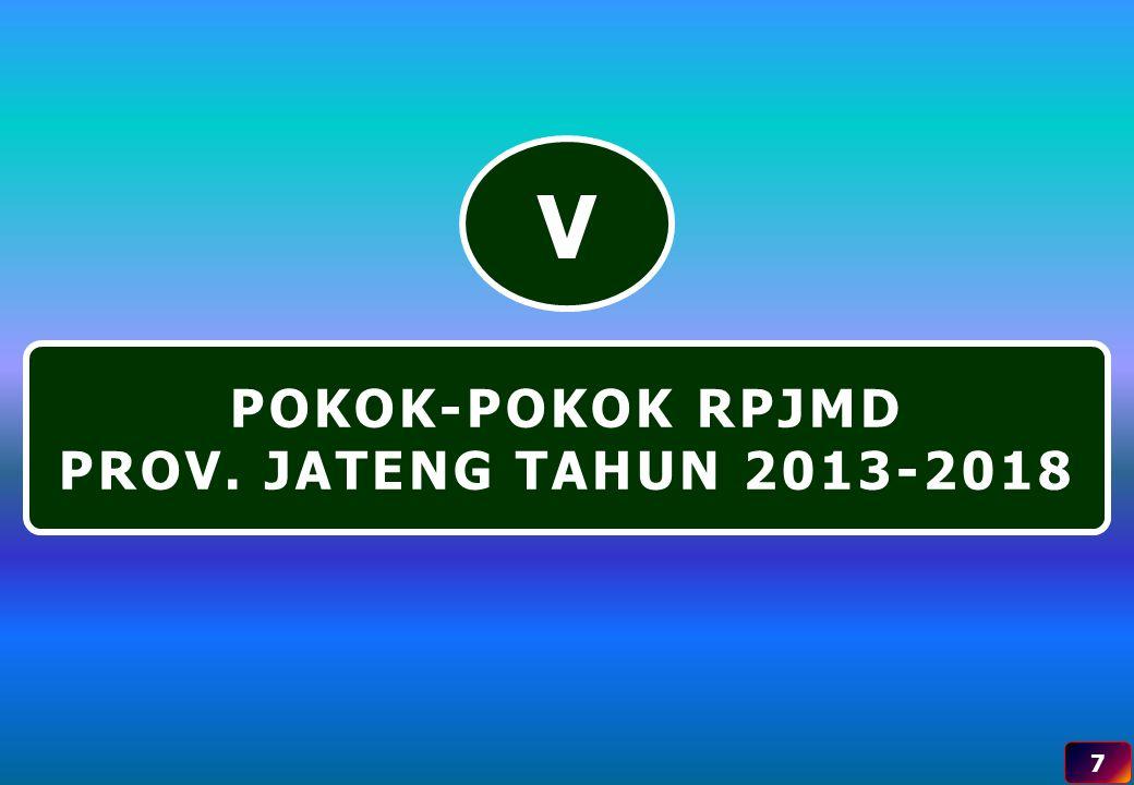 V POKOK-POKOK RPJMD PROV. JATENG TAHUN 2013-2018 7