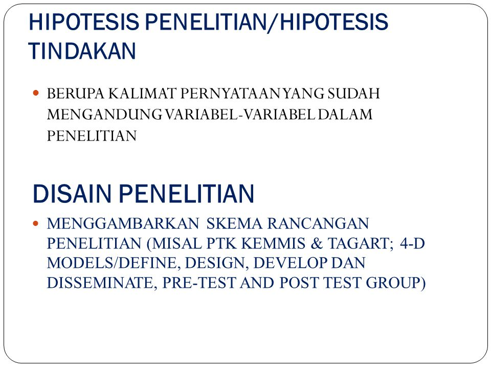 HIPOTESIS PENELITIAN/HIPOTESIS TINDAKAN