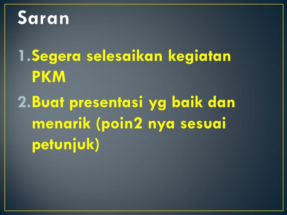 Saran Segera selesaikan kegiatan PKM