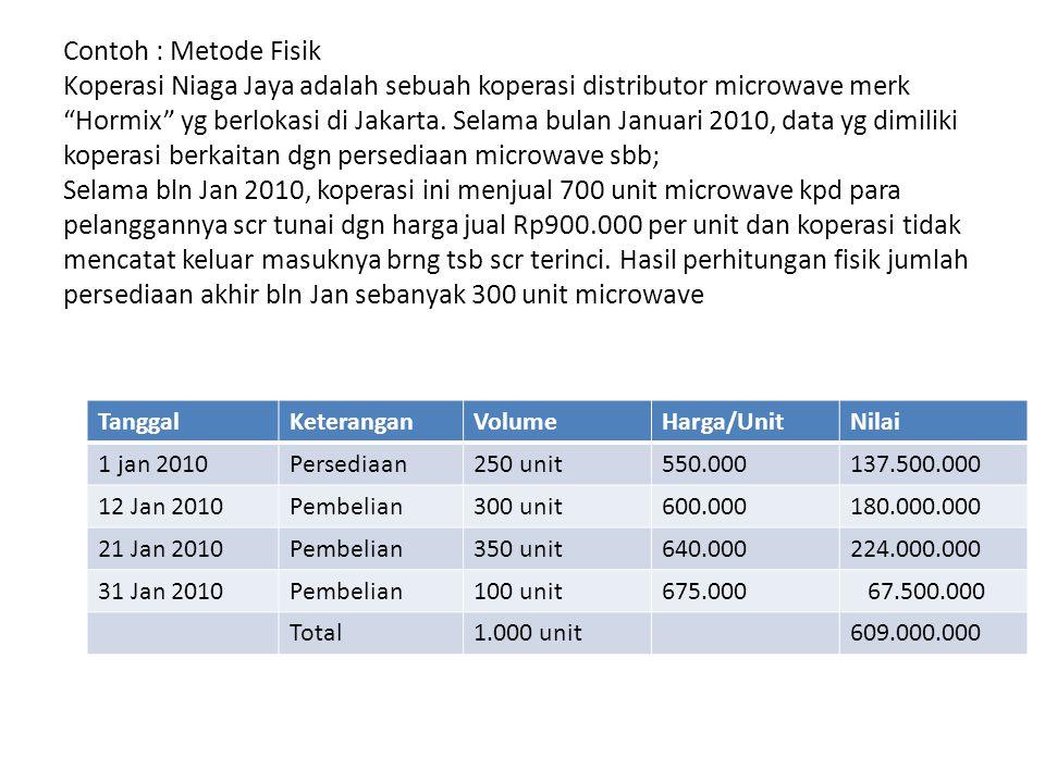 Contoh : Metode Fisik Koperasi Niaga Jaya adalah sebuah koperasi distributor microwave merk Hormix yg berlokasi di Jakarta. Selama bulan Januari 2010, data yg dimiliki koperasi berkaitan dgn persediaan microwave sbb; Selama bln Jan 2010, koperasi ini menjual 700 unit microwave kpd para pelanggannya scr tunai dgn harga jual Rp900.000 per unit dan koperasi tidak mencatat keluar masuknya brng tsb scr terinci. Hasil perhitungan fisik jumlah persediaan akhir bln Jan sebanyak 300 unit microwave
