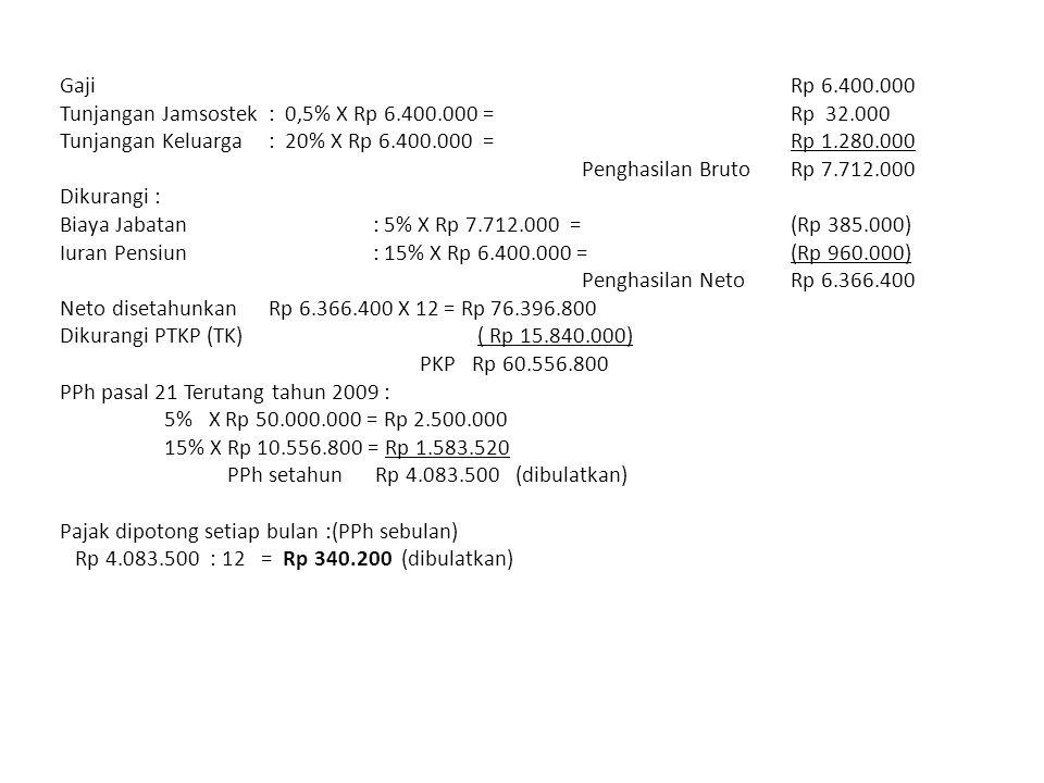 Gaji Rp 6.400.000 Tunjangan Jamsostek : 0,5% X Rp 6.400.000 = Rp 32.000. Tunjangan Keluarga : 20% X Rp 6.400.000 = Rp 1.280.000.