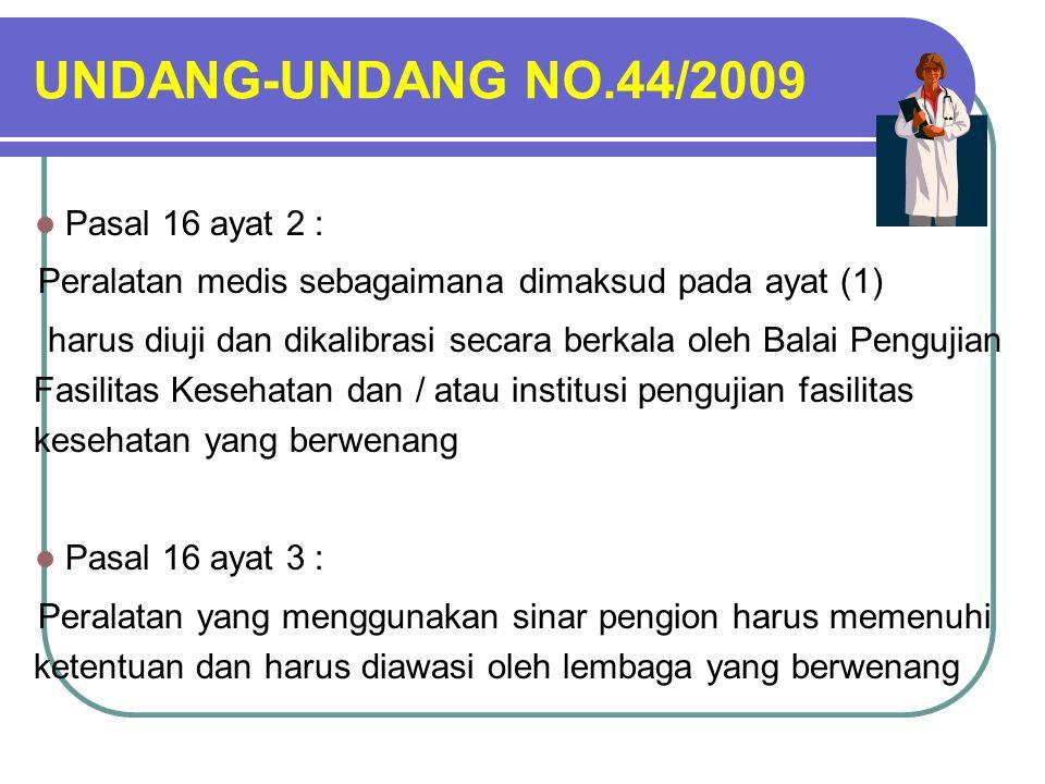 UNDANG-UNDANG NO.44/2009 Pasal 16 ayat 2 :