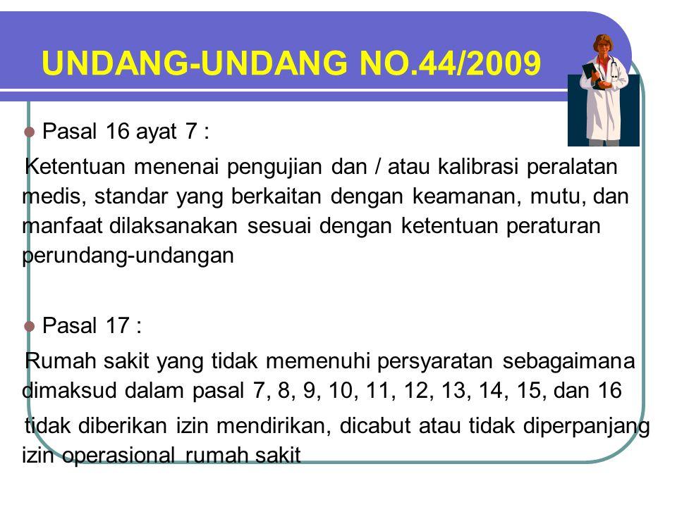 UNDANG-UNDANG NO.44/2009 Pasal 16 ayat 7 :