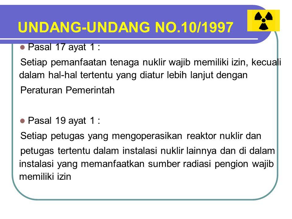 UNDANG-UNDANG NO.10/1997 Pasal 17 ayat 1 :