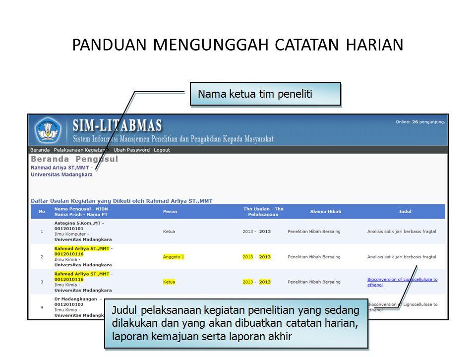 Panduan Mengunggah Catatan Harian