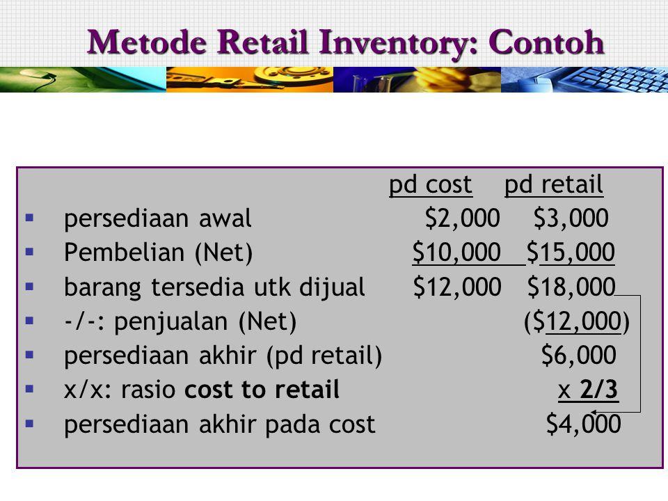Metode Retail Inventory: Contoh