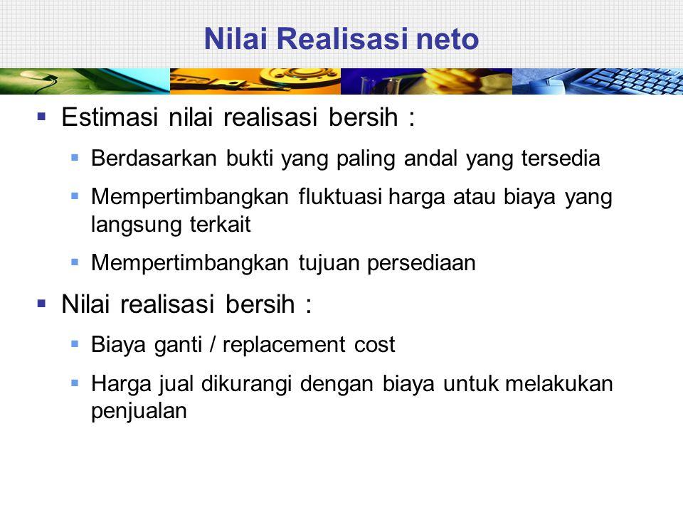 Nilai Realisasi neto Estimasi nilai realisasi bersih :