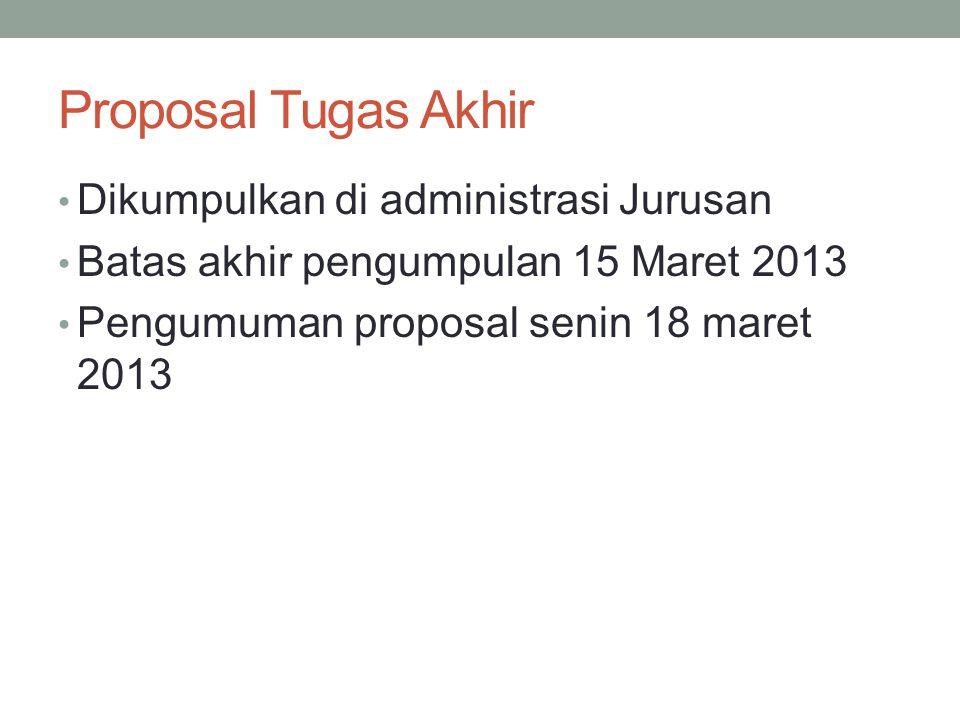 Proposal Tugas Akhir Dikumpulkan di administrasi Jurusan