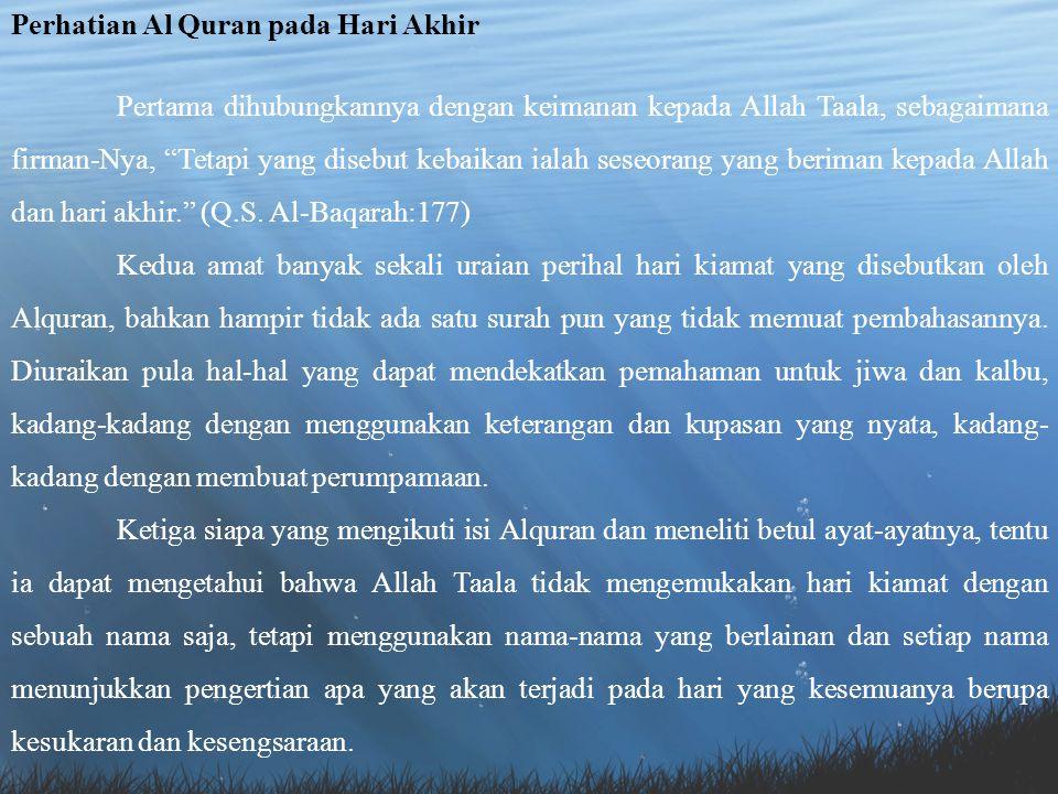 Perhatian Al Quran pada Hari Akhir