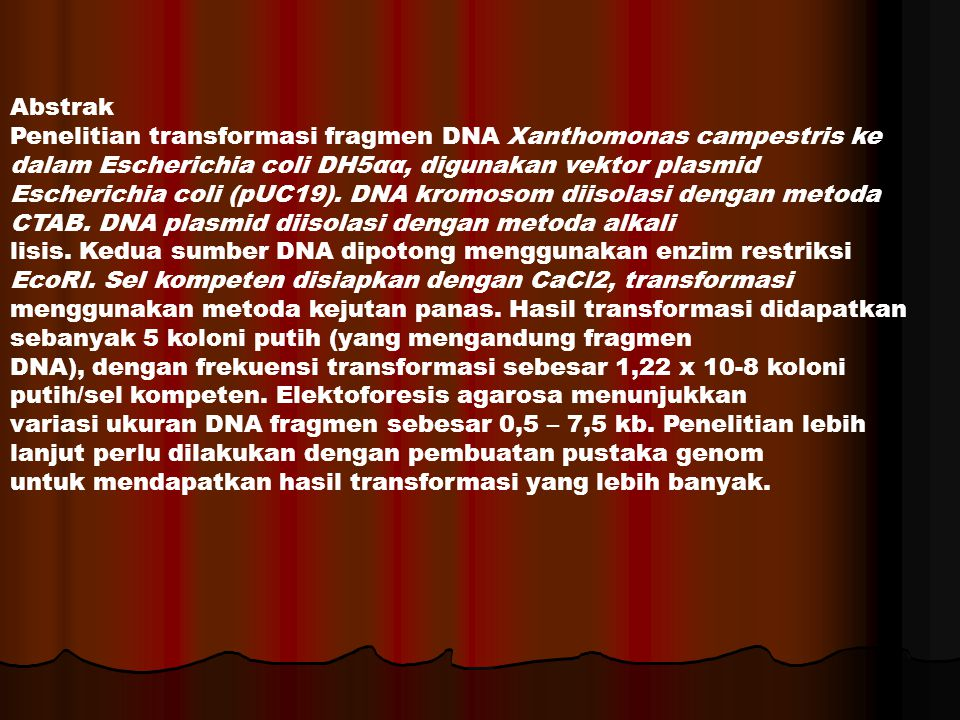 Abstrak Penelitian transformasi fragmen DNA Xanthomonas campestris ke dalam Escherichia coli DH5αα, digunakan vektor plasmid.