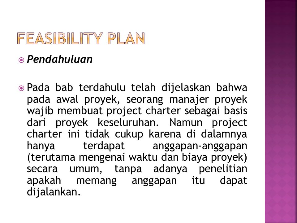 Feasibility Plan Pendahuluan