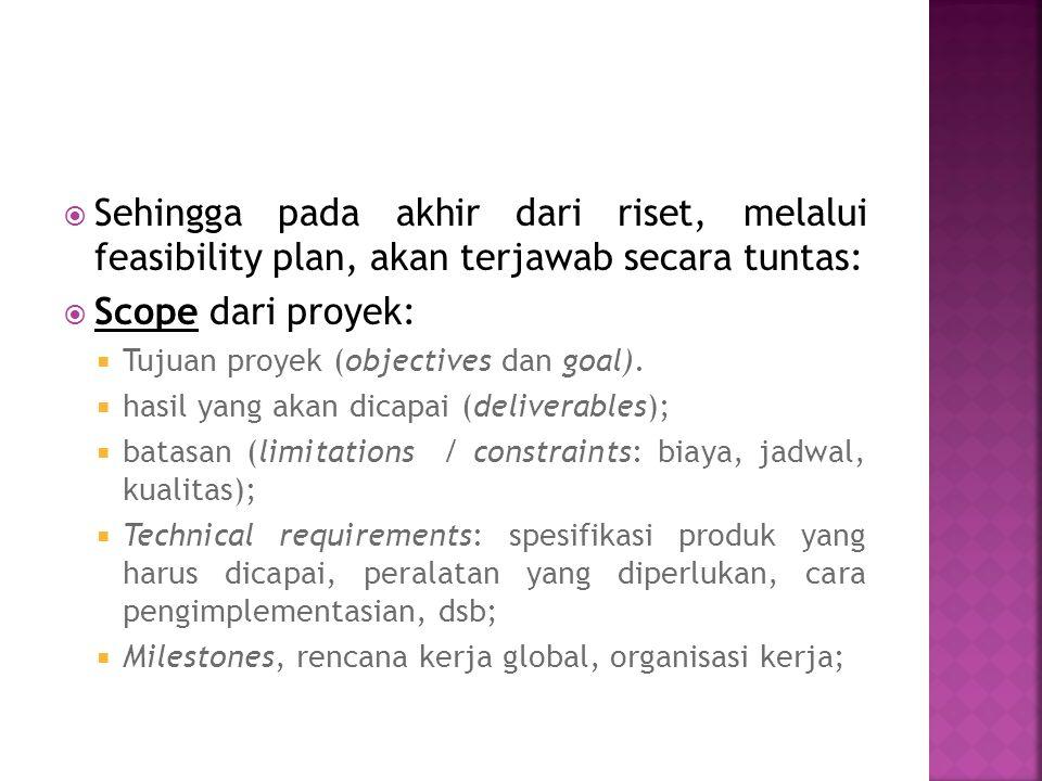 Sehingga pada akhir dari riset, melalui feasibility plan, akan terjawab secara tuntas: