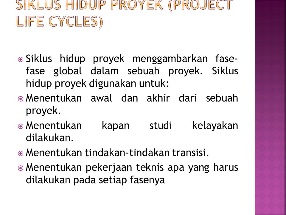 Siklus hidup proyek (Project life cycles)