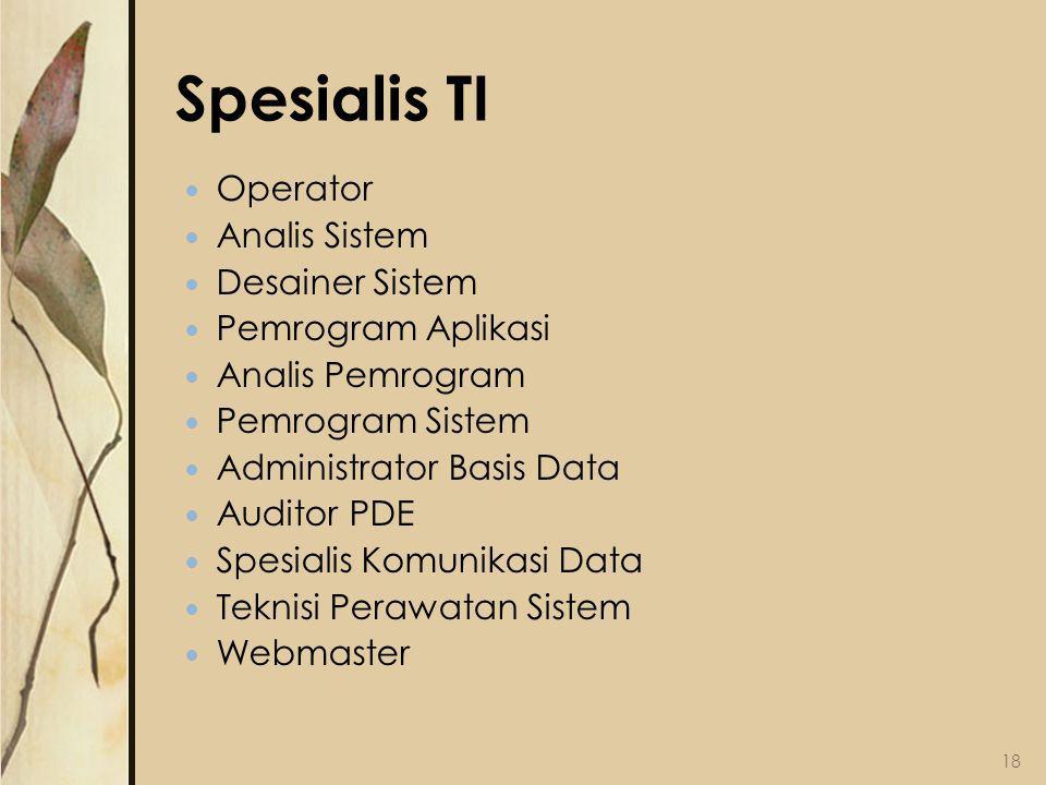Spesialis TI Operator Analis Sistem Desainer Sistem Pemrogram Aplikasi