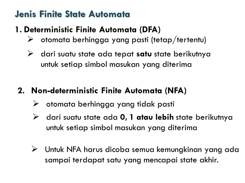 Jenis Finite State Automata