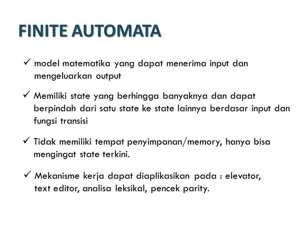 FINITE AUTOMATA model matematika yang dapat menerima input dan mengeluarkan output.