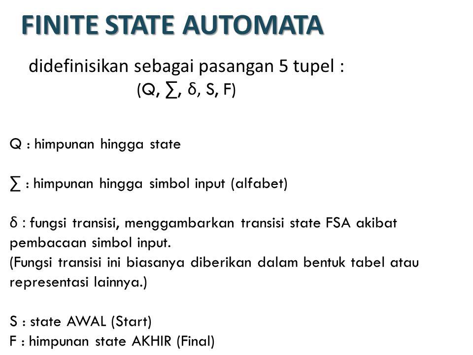FINITE STATE AUTOMATA didefinisikan sebagai pasangan 5 tupel :