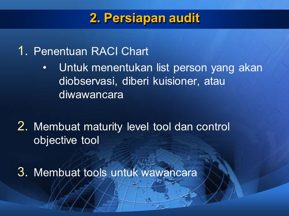 2. Persiapan audit Penentuan RACI Chart