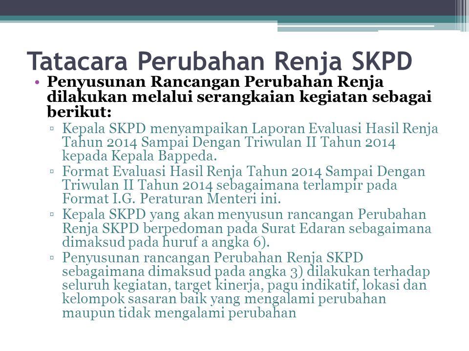 Tatacara Perubahan Renja SKPD